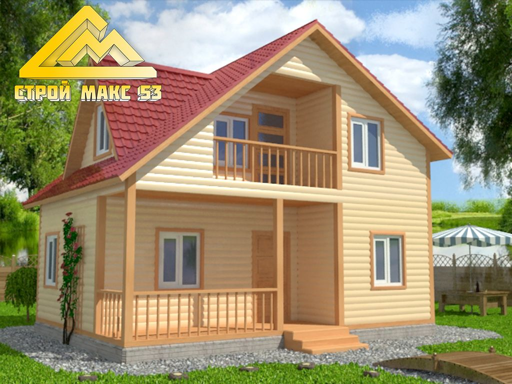 Брусовой дом 6x8 с балконом, террасой и мезанином. объявлени.