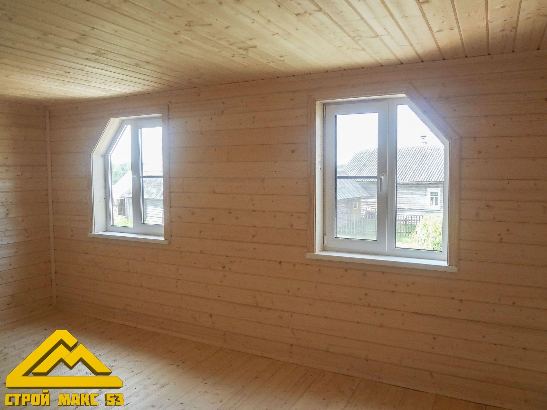 отделка деревянного дома внутри имитацией бруса фото