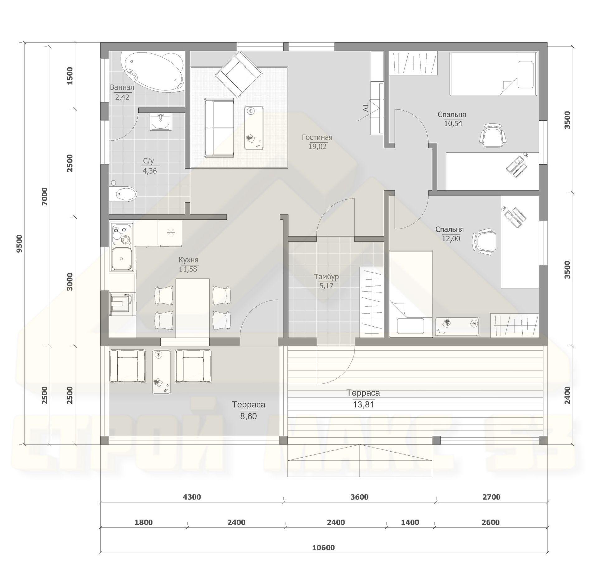 дом одноэтажный проект фото