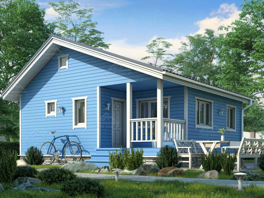 проект финского каркасного одноэтажного дома 8 на 8