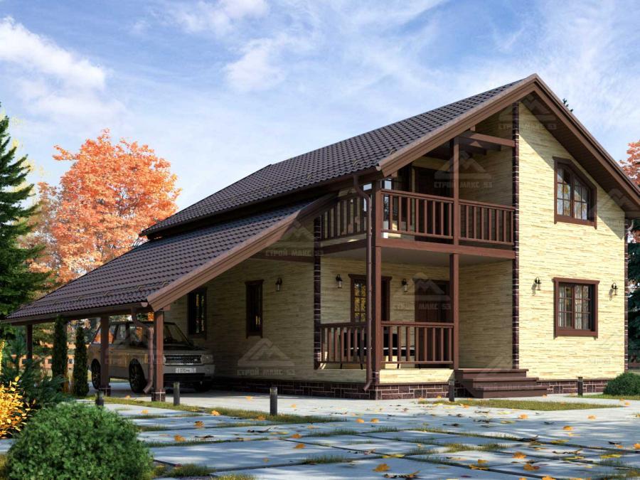 финский дом 10 на 8 с гаражом и балконом