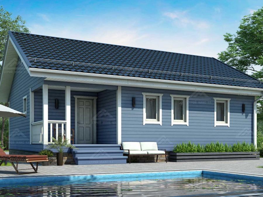 финский одноэтажный дом 10 на 8 с террасой