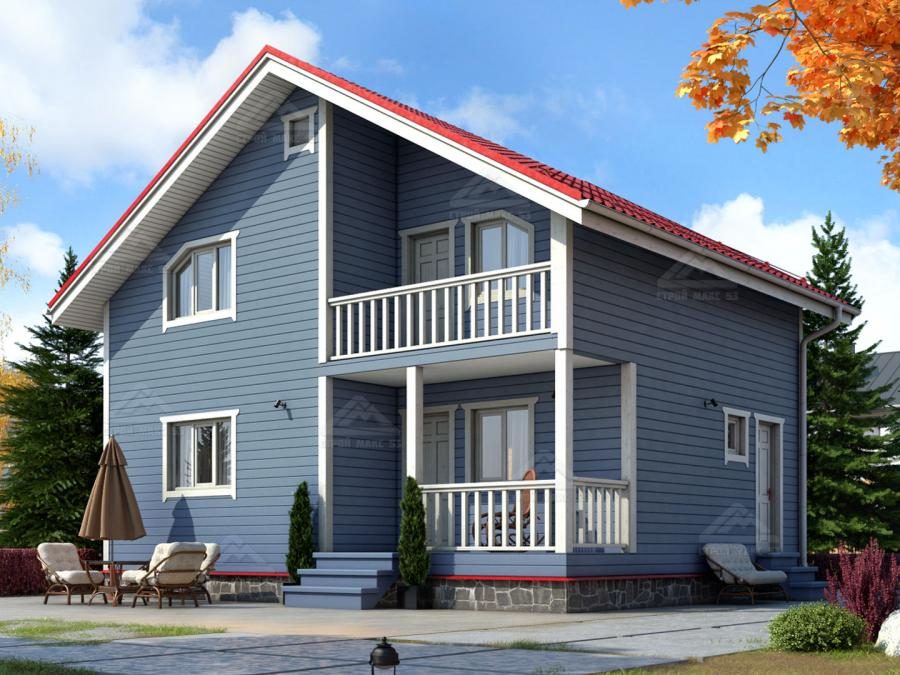 проект финского каркасного дома с балконом