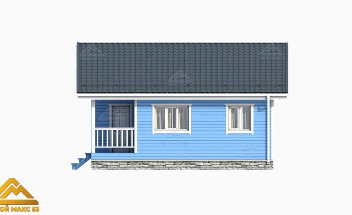 план 3D финского дома 8х8 вид сбоку