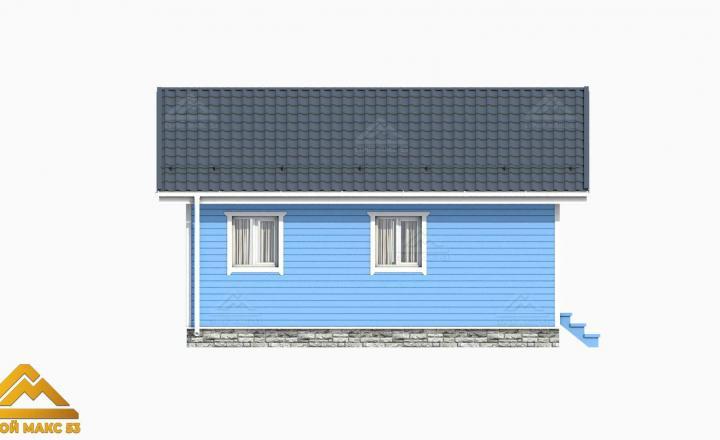 графический рисунок одноэтажного финского дома сзади