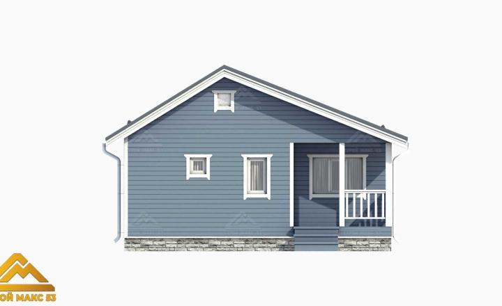 серый фасад финского дома с террасой 3д-план
