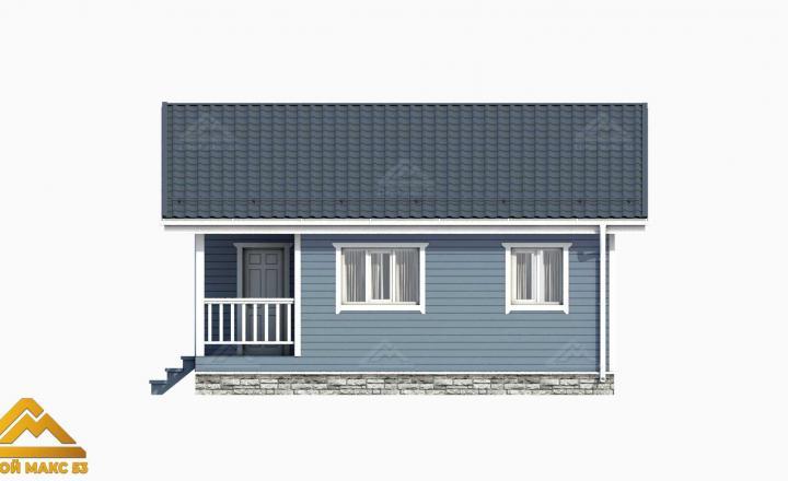 3д-проект финского одноэтажного дома вид сбоку