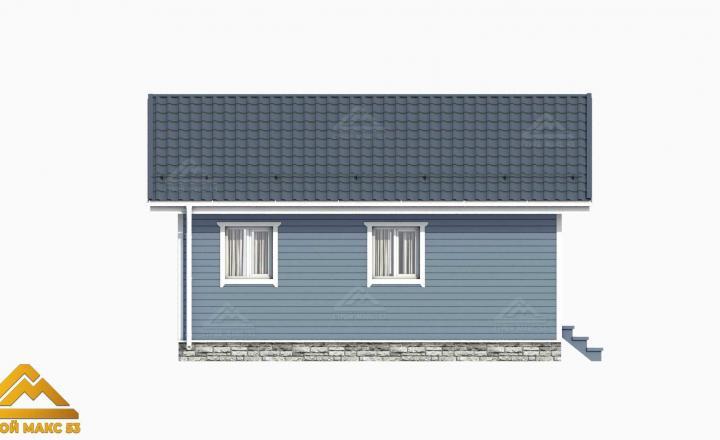 рисунок 3д серого фасада финского дома сбоку