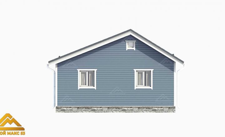 3д-проект серого фасада финского дома сзади