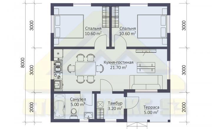 планировка финского дома 8х8