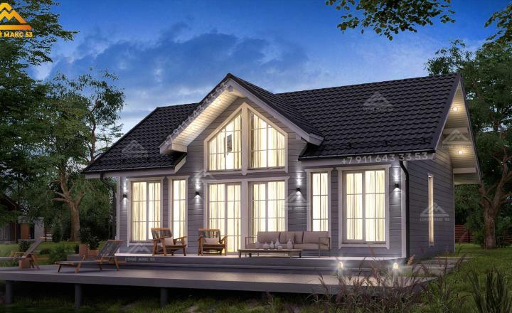 двухэтажный каркасный дом под ключ со вторым светом 12х9
