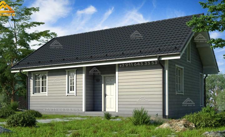 двухэтажный каркасный дом под ключ со вторым светом 12х9 вид сзади