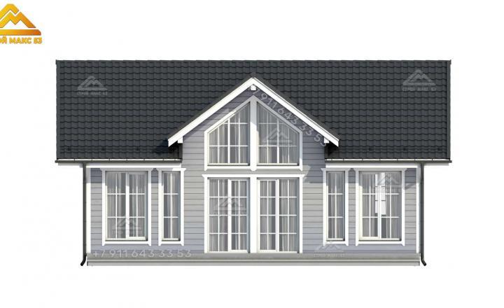 3-д визуализация переднего фасада двухэтажного каркасного дома со вторым светом