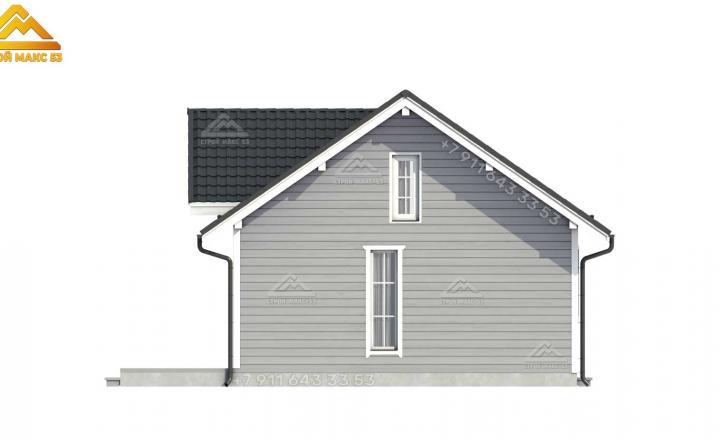 3-D визуализация бокового фасада каркасного дома со вторым светом в СПб