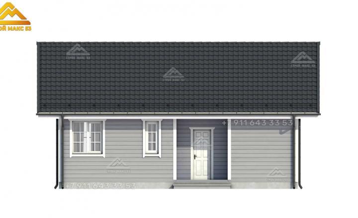3-д эскиз фасада каркасного дома со вторым светом в СПб вид сзади
