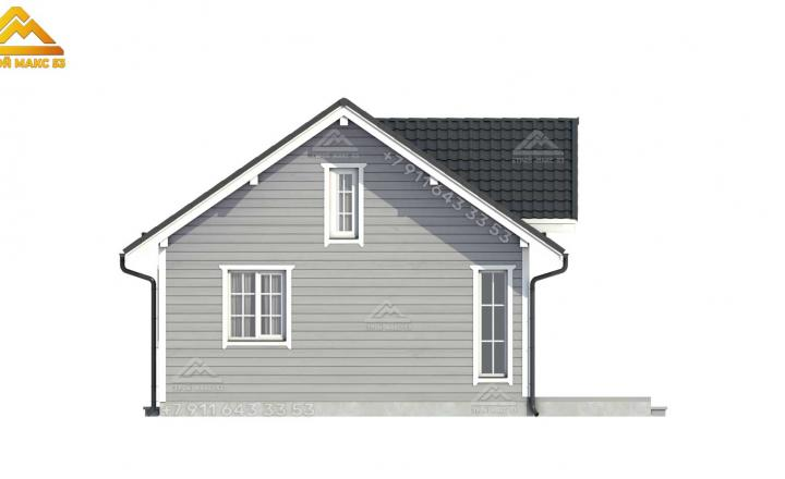 3D-визуализация бокового фасада каркасного дома со вторым светом под ключ