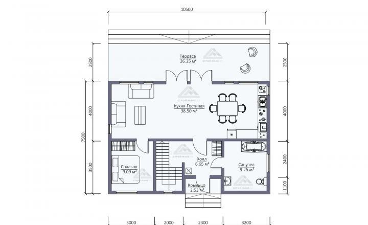 планировка первого этажа каркасного дома под ключ со вторым светом СПб