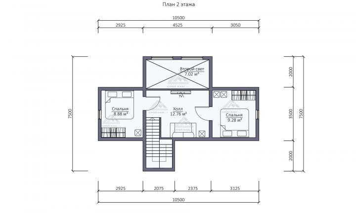 планировка второго этажа каркасного дома под ключ со вторым светом СПб