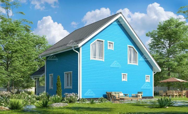 финский каркасный дом проект фото под ключ в СПб вид сзади