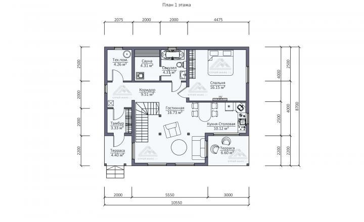 планировка финского каркасного дома под ключ в СПб первый этаж