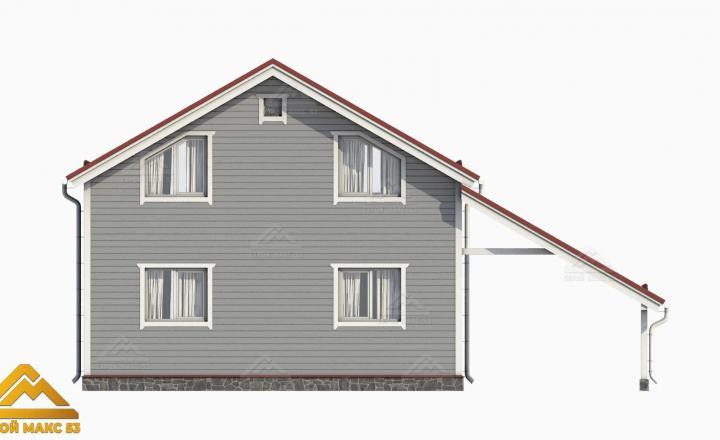 3-д визуализация двухэтажного финского дома сзади