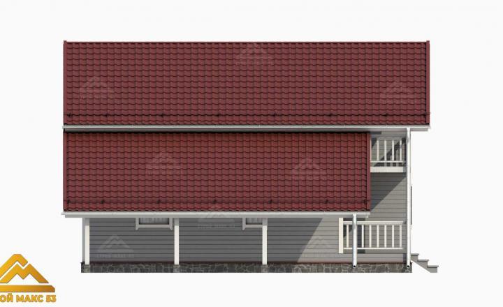 3-д графика фасада финского дома 10х8 сбоку