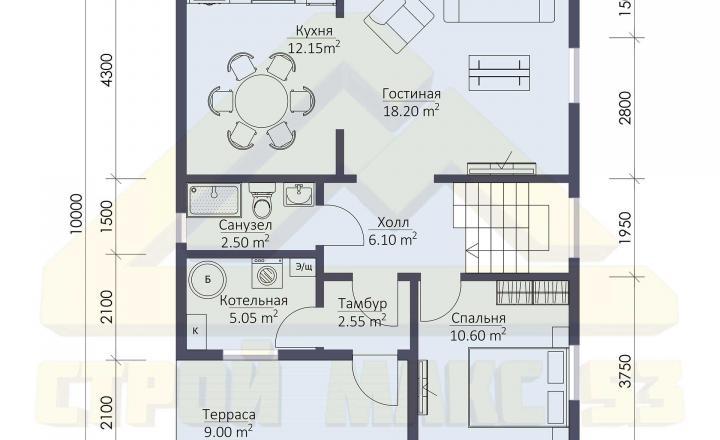 план первого этажа финского дома 10х8