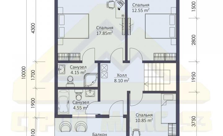план второго этажа финского дома 10 на 8