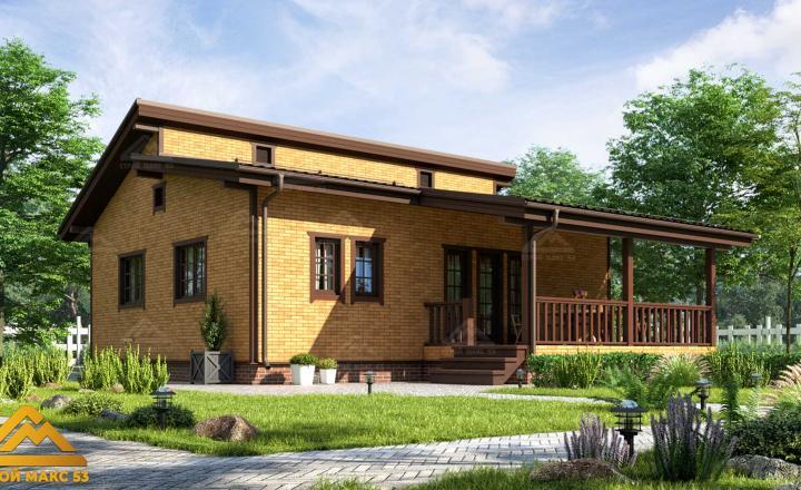 финский одноэтажный дом 10 на 12 отделка под кирпич фасад