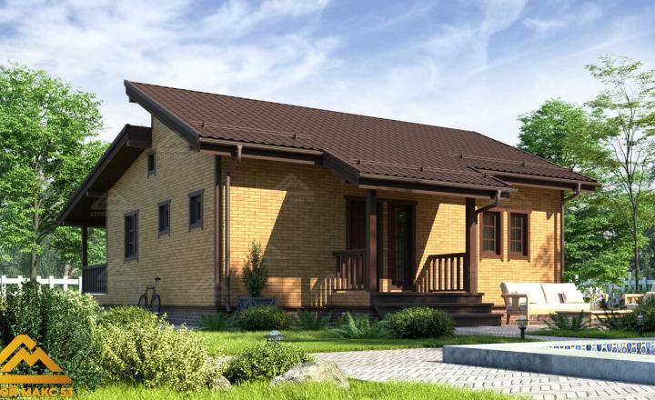 финский одноэтажный дом 10 на 12 отделка под кирпич задний фасад