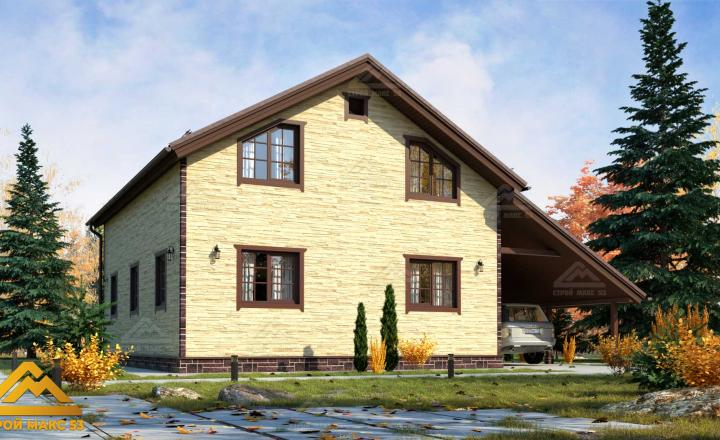 финский дом 10 на 8 с гаражом и балконом под камень фасад сзади