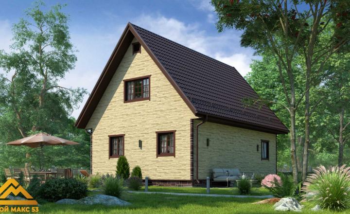 финский дом 10 на 8 сиверский под камень фасад сзади