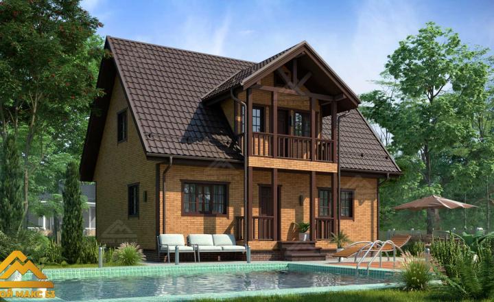 финский дом 10 на 8 сиверский под кирпич фасад
