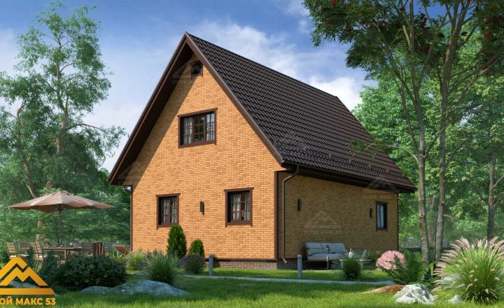 финский дом 10 на 8 сиверский под кирпич фасад сзади