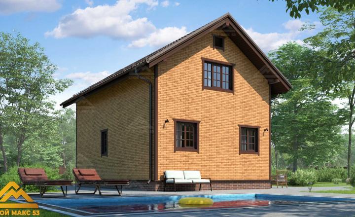 финский дом 6 на 9 под ключ под кирпич фасад сзади