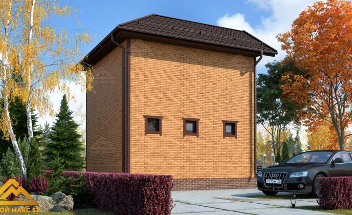 финский дом 6 на 6 под ключ под кирпич фасад сзади