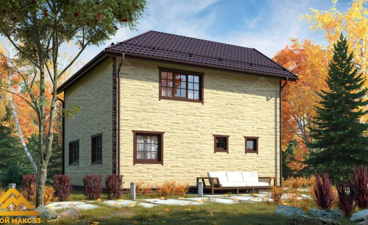 финский дом 9 на 9 отделка под камень фасад сзади