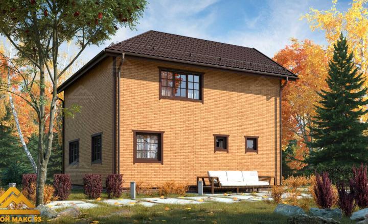 финский дом 9 на 9 отделка под кирпич фасад сзади