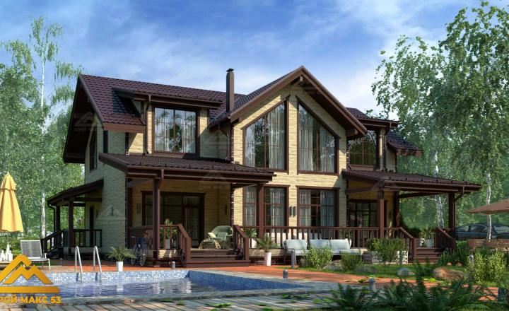 финский каркасный дом 14 на 17 под камень фасад