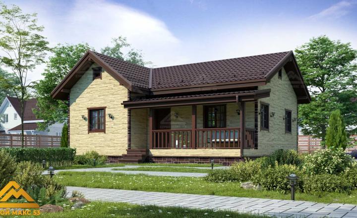 финский одноэтажный дом 10 на 8 отделка камень фасад