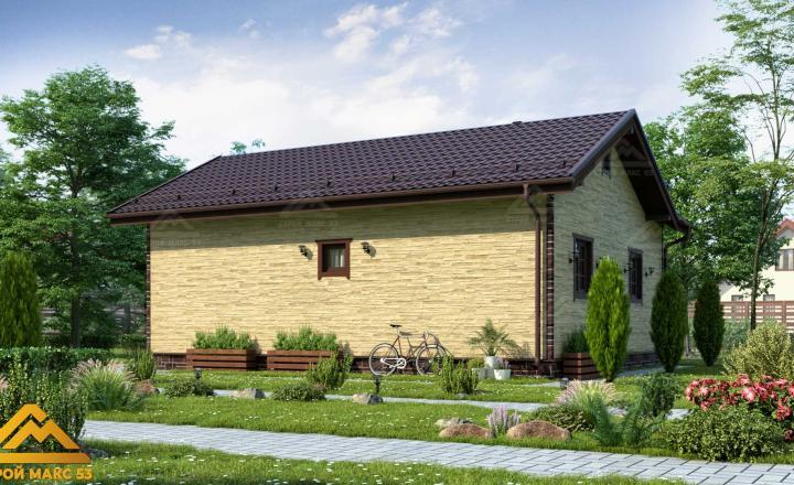 финский одноэтажный дом 10 на 8 отделка камень фасад сзади