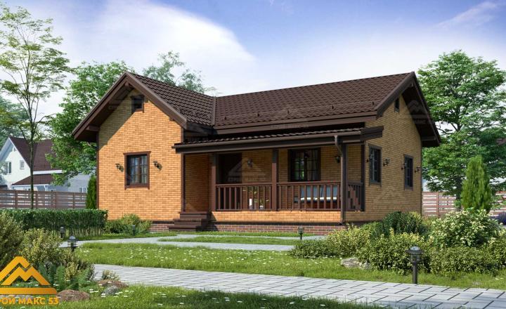 финский одноэтажный дом 10 на 8 отделка кирпич фасад