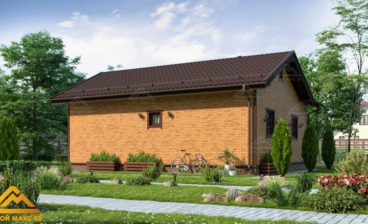 финский одноэтажный дом 10 на 8 отделка кирпич фасад сзади