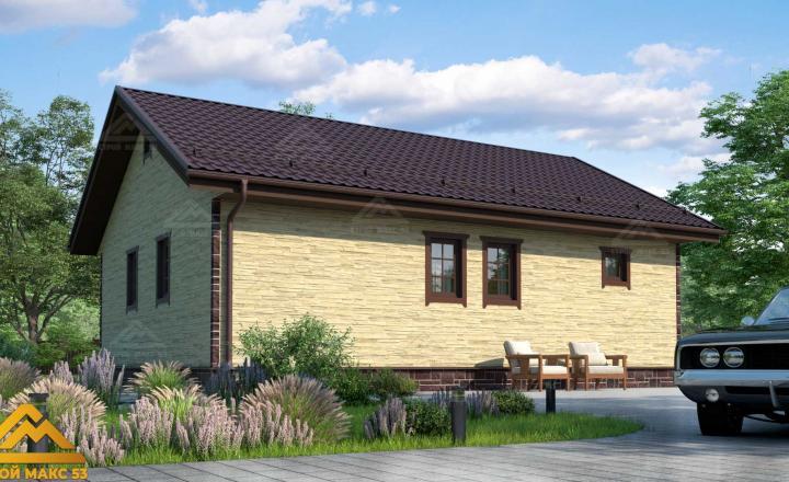 финский одноэтажный дом 10 на 8 под камень фасад сзади