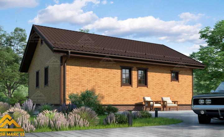финский одноэтажный дом 10 на 8 под кирпич фасад сзади