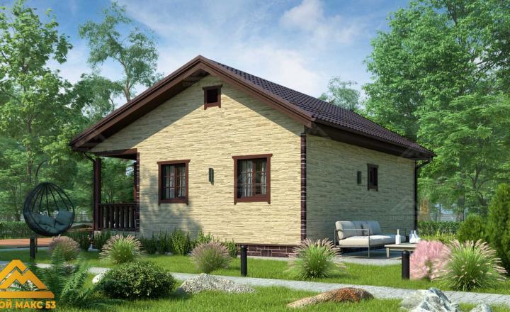 финский одноэтажный дом 6 на 9 отделка камень фасад сзади