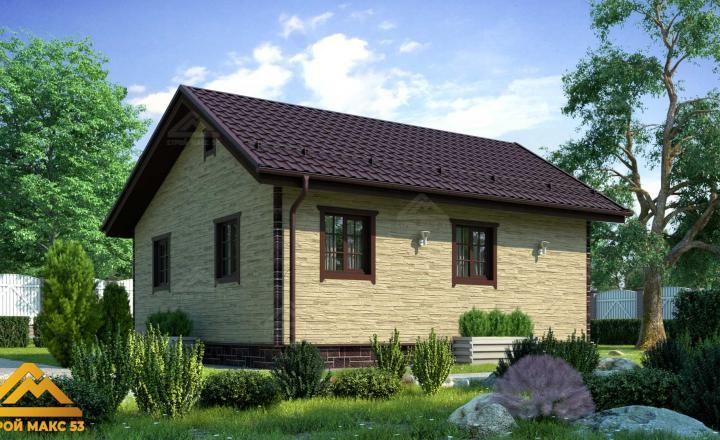 финский одноэтажный дом 8 на 8 под ключ под камень фасад сзади