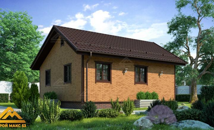 финский одноэтажный дом 8 на 8 под ключ под кирпич фасад сзади