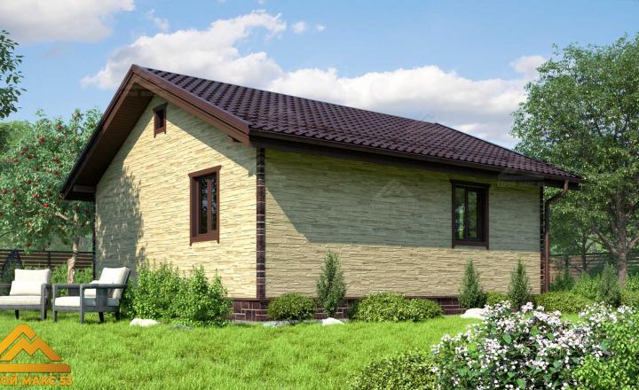 финский одноэтажный дом 8 на 8 отделка под камень фасад сзади
