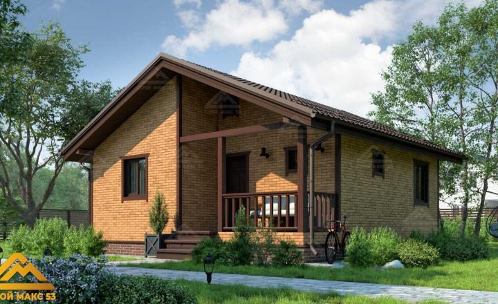 финский одноэтажный дом 8 на 8 отделка под кирпич фасад